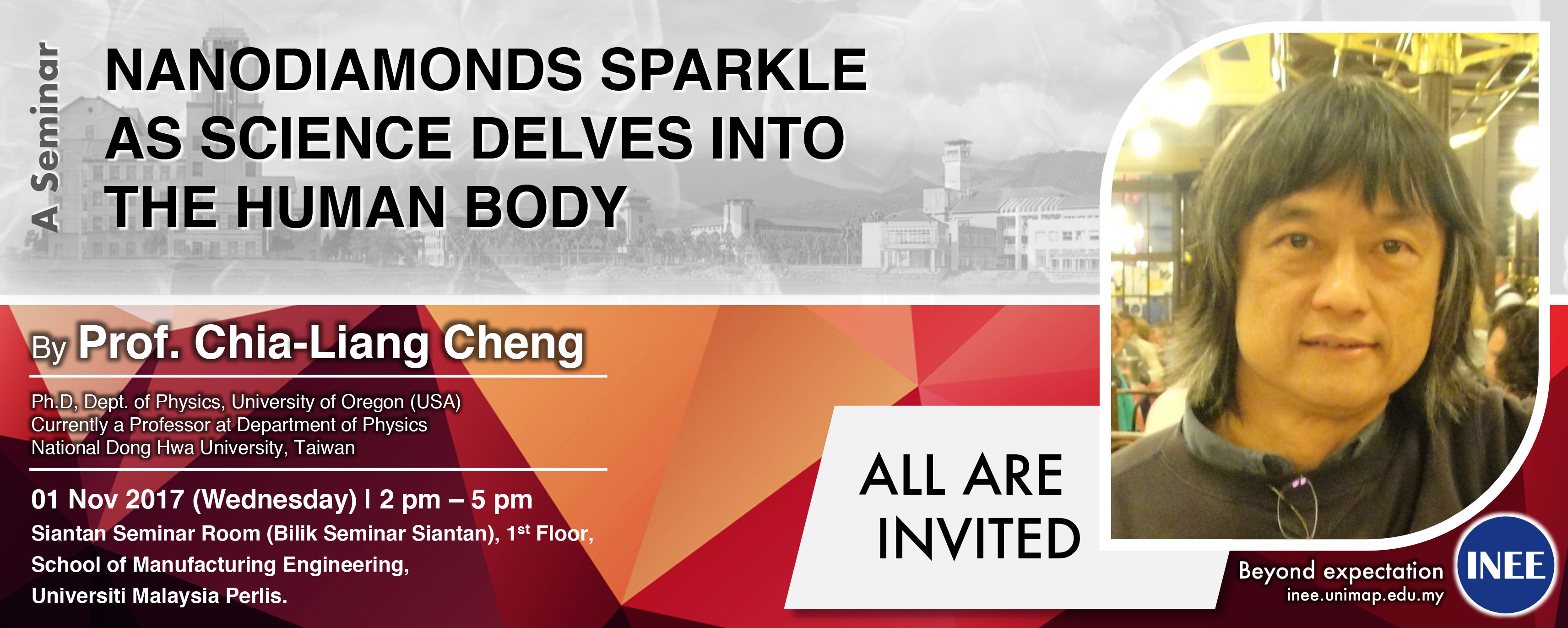 A Seminar Nanodiamonds Sparkle as Science Delves into the Human Body by Prof. Chia-Liang Cheng