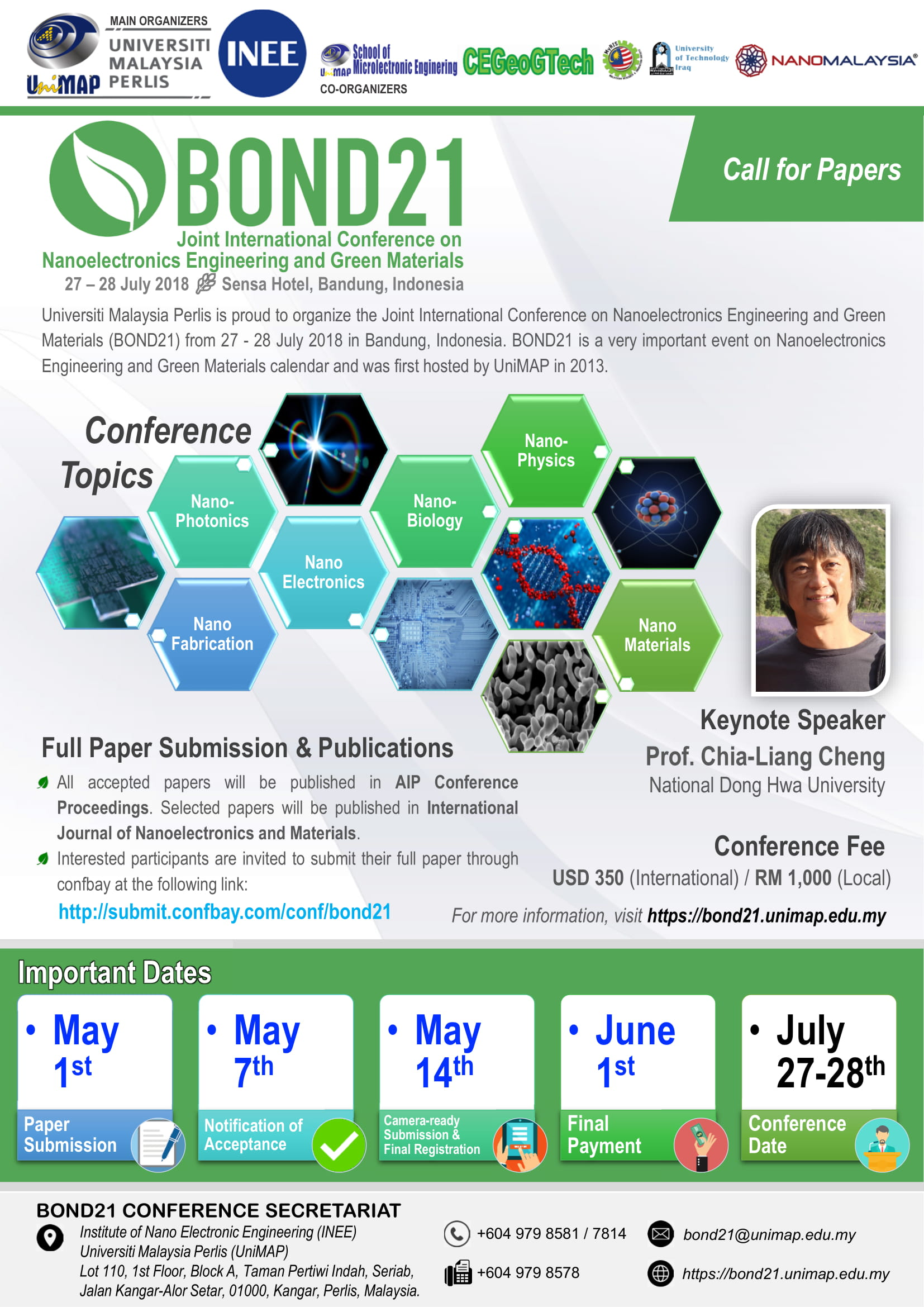 BOND21 Joint International Conference on Nanoelectronics Engineering and Green Materials
